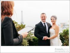 Wedding Celebrant and Officiant in Paris France | French Grey Events | Wedding: Paris, France. Ilene + Adam rooftop ceremony idea with a view