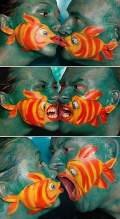 Fish Face Paint- this would be a cute but very weird halloween costume… Maquillage Halloween, Halloween Makeup, Halloween Party, Halloween Costumes, Making Out Couple, Unique Engagement Photos, Engagement Pictures, Wedding Pictures, Art Visage