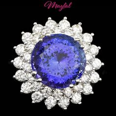 $29600 CERTIFIED 18K WHITE GOLD 11.00CT TANZANITE 2.70CT DIAMOND RING #MAYTAL #Cocktail #Any