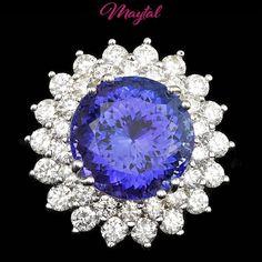 $29600 CERTIFIED 18K WHITE GOLD 11.00CT TANZANITE 2.70CT DIAMOND RING #MAYTAL #Cocktail #Any