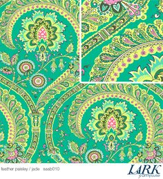 Amy Butler patterned home decor fabric, Jade, Feather Paisley SAAB010