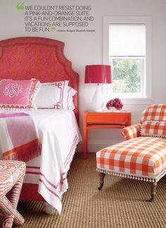 Fun colorful pillows.  Traditional Home June '14.  Designer: Elizabeth Schmidt