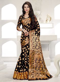 Black Banarasi Silk Engagement Wear Saree 87468