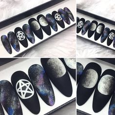 Matte Pentgram Press on Nails | Galaxy False Nails | Moon Phase | Witchy | Occult | Glue On Nails | Any Shape and Size