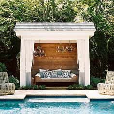 Pool Cabana Curtains - Design photos, ideas and inspiration. Amazing gallery of interior design and decorating ideas of Pool Cabana Curtains in decks/patios, pools, bathrooms by elite interior designers. Pool Cabana, My Pool, Backyard Cabana, Outdoor Cabana, Backyard Pools, Diy Swimming Pool, Indoor Pools, Pool Decks, Outdoor Rooms