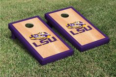Our Louisiana State University LSU Tigers Cornhole Game Set Hardcourt Version. Get your custom set at victorytailgate.com