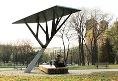 outdoor seating, shade and power #streetfurniture