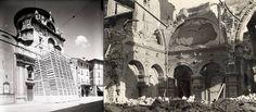 THROWBACK THURSDAY BRESCIA  Questa settimana ci occupiamo della Chiesa di S. Maria dei Miracoli.Come potete vedere, si era provveduto a proteggere la facciata da eventuali bombardamenti con una struttura di legno contenente sacchi di sabbia, considerato l'alto valore della decorazione rinascimentale ispirata all'arte classica, proprio come nella facciata di palazzo Loggia. Purtroppo il due marzo 1945 la chiesa venne bombardata e l'interno fu devastato dalle bombe.
