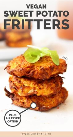 These vegan sweet potato fritters are deliciously golden and crunchy on the outside and soft on the inside. Theyre easy to make either using an air fryer baked in the oven or fried in oil and make an awesome meal prep or lunch box option! Vegan Foods, Vegan Dishes, Vegan Meals, Vegan Art, Sweet Potato Fritters, Sweet Potato Patties, Whole Food Recipes, Cooking Recipes, Recipes Dinner