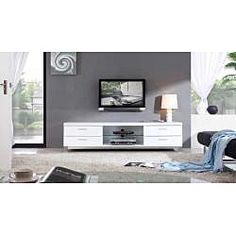 LOVE this sleek white! @Overstock - Designed for function and style, this TV stand features state-of-the-art slow closing cabinet doors and a beautiful white, high-gloss finish. A convenient adjustable glass shelf and a durable construction highlight this stand.http://www.overstock.com/Home-Garden/B-Modern-Natasha-White-Stainless-Steel-Modern-TV-Stand/6539453/product.html?CID=214117 $1,079.99