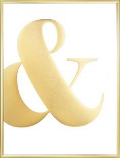 Poster mit dem &-Zeichen, gedruckt mit Goldfolie, für ein richtig schönes Glitzern. Ein Muss für alle, die auf Typografien und Gold stehen! Diese Graphic art mit Gold macht sowohl alleine als auch als Teil einer Bilderwand mit anderen Postern in Gold oder mit kräftigen Motiven eine gute Figur. www.desenio.de
