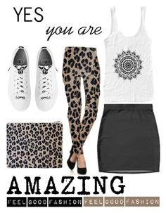 "My Fashion Collection is made to feel Good""        *See 100 more looks'                       Feel Good Fashion @ www.marijkeverkerkdesign.nl   White Boho chic converse sneakers, leopard evening clutch, leopard fashion leggings, boho woman spaghetti straps top"