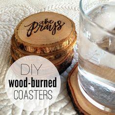 wood burned design coasters