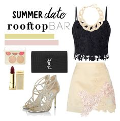 """""""Rooftop bar"""" by r-dereli ❤ liked on Polyvore featuring 3.1 Phillip Lim, Lipsy, Yves Saint Laurent, DIANA BROUSSARD, Jimmy Choo, Becca, Lipstick Queen, summerdate and rooftopbar"""