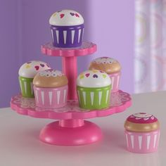 The KidKraft Cupcake Stand with Cupcakes is a perfect kitchen accessory for any of the young chefs in your life. Kids will love putting the cupcakes on display for the whole world to see. Maybe they'll even sell you one! Age Range: 3