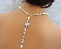 Bridal necklace, Back Drop necklace, pearl necklace, Art Deco neckkace, wedding jewelry, vintage style elegance. $95.00, via Etsy.