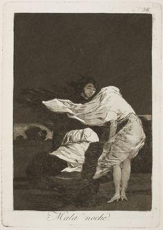 "Francisco de Goya: ""Mala noche"". Serie ""Los caprichos"" [36]. Etching and aquatint on paper, 214 x 152 mm, 1797-99. Museo Nacional del Prado, Madrid, Spain"