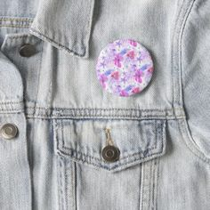 Tropical Nature Flower Watercolor  Round Badge Pinback Button - watercolor gifts style unique ideas diy
