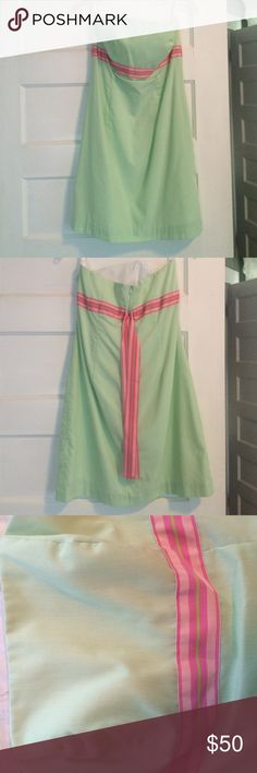 Melly M light green dress with pink ribbon Super cute, perfect for summer light green melly m dress with pink and green ribbon detail Melly M Dresses Strapless