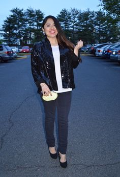 Sequined Blazer / Black and White Outfit Idea I