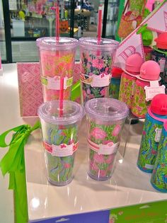 go to hobby lobby buy the tumblers you put your own paper in and print out monogrammed sorority lilly print <> <3