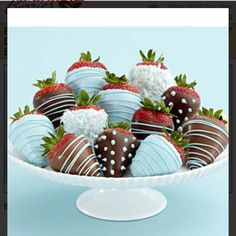 Dozen chocolate covered strawberries for baby boy shower @Shari Brown's Berries