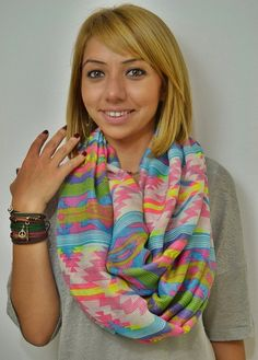 ON SALE  Infinity Scarf Aztec Scarf Ethnic Pattern by LIFEPARTNER, $15.00