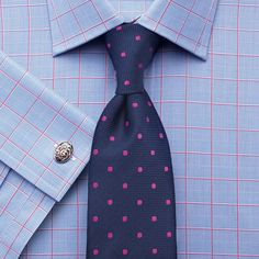 Pink satin Prince of Wales check slim fit shirt