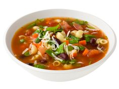 Minestrone Soup Use vegetable broth and no noodles, replaced with cannellini beans. Also hit it wit a handful of fresh spinach before serving. Use zucchini in the summer rather than string beans In the winter use root veg and brussel sprouts