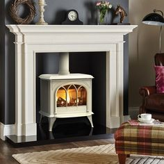 Gazco Huntingdon Ivory Enamel, Tracery Door, Log Effect, Natural Gas, Conventional Flue Stove - Simply Stoves Log Burner Living Room, Living Room Decor Fireplace, Fireplace Kitchen, Small Living Rooms, Living Room Modern, Home Living Room, Faux Fireplace, Modern Fireplace, Fireplace Ideas