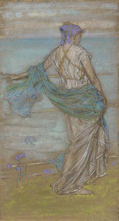 Annabel Lee James Whistler 1885 Freer Gallery of Art James Abbott Mcneill Whistler, Freer Gallery, Art For Art Sake, Illustrations, Ancient Art, American Artists, Figure Drawing, Female Art, Annabel Lee