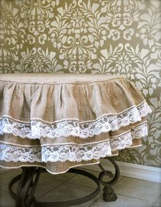 Burlap and Lace Ruffle Tablecloth would be awesome for the cake table