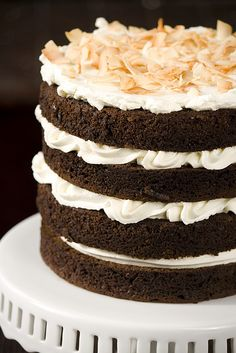 Chocolate Coconut Milk Cake with Coconut Buttercream