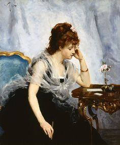 A Young Lady Writing a Letter (Victor Gabriel Gilbert -french painter)