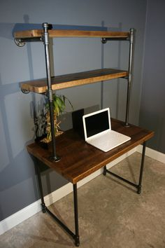 Computer Desk W/storage Shelves - Reclaimed Wood
