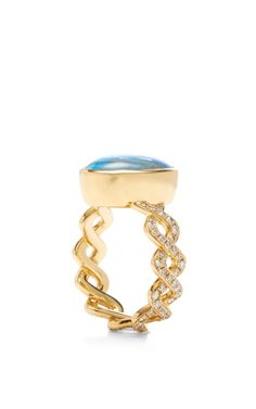 Boulder Opal And Diamond Twisting Vine Ring by Katherine Jetter for Preorder on Moda Operandi