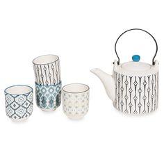 Teeset aus Fayence mit blauen Motiven CAIXO