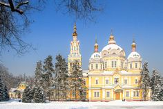Russian Orthodox cathedral located in Panfilov Park in Almaty, Kazakhstan on winter day. Completed in 1907, it is the second tallest wooden building in the world.