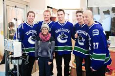 Where, exactly, is Lapierre's hand? Is that why Burrows looks kind of awkward? To be fair, yay hockey players cheering up sick kids! Sick Kids, Cheer Up, Hockey Players, Awkward