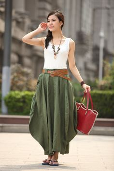 Cool Baggy Maxi Skirt Linen Skirt Summer Trendy Long Skirt Maxi Dress In Army Green- WH129,S-L on Etsy, $79.99