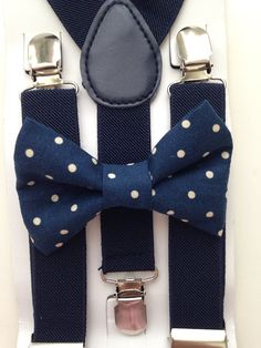 Navy blue Suspenders Navy Blue Polka Dots Bow Tie by BowTieFun Navy Blue Suspenders, Bowtie And Suspenders, Bowties, Polka Dot Bow Tie, Blue Polka Dots, Suspender Clips, Rings For Girls, Kids Boys, Photoshoot