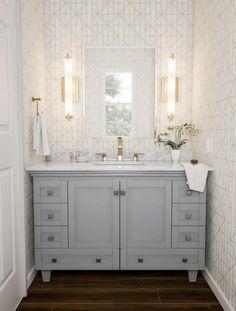 Double Bathroom Vanity Designs Ideas - A double trough sink bathroom vanity has basins recessed dire Trough Sink Bathroom, Double Vanity Bathroom, Bathroom Sets, Bathroom Vanity Designs, Gold Bathroom, Bathrooms Remodel, Bathroom Design, Bathroom Decor, Vanity Design