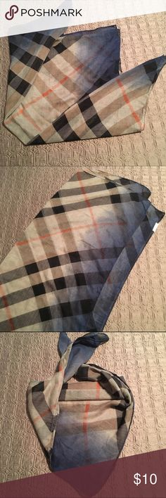 Oversized Plaid Scarf Perfect for fall, this oversized plaid scarf can be worn so many ways! Tan and blue ombré background with black and orange plaid. Unfolded, it is a long rectangular scarf but can easily be folded and worn as a square scarf. Soft gauze material. Excellent condition, only worn twice. ❌No trades Charming Charlie Accessories Scarves & Wraps
