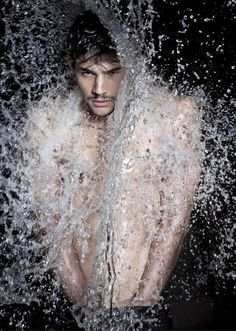 Brazilian male model Ramon Durr goes shirtless for latest editorial Reflex Mag -Waterfall issue captured by Alexandro Adds and styled by Sp...