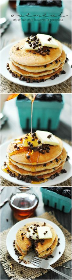 Oatmeal Chocolate Chip Buttermilk Pancakes- these are pretty good, but the chocolate chips overpower the buttermilk taste. Brunch Recipes, Breakfast Recipes, Dessert Recipes, Desserts, Yummy Treats, Yummy Food, Tasty, Oatmeal Chocolate Chip Cookies, Chocolate Chips