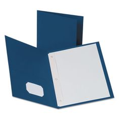 """Twin-Pocket Folders With 3 Fasteners, Letter, 1/2"""" Capacity, Blue, 25/box"""