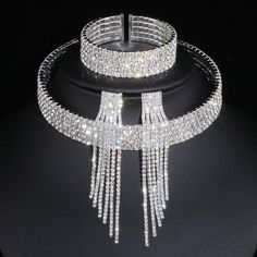 Austrian Crystal Wedding Necklace Choker tasseled Earring and bracelet set Tassel Jewelry, Rhinestone Jewelry, Tassel Necklace, Silver Jewellery, Silver Ring, Silver Earrings, Silver Rhinestone, Statement Necklaces, Crystal Bracelets