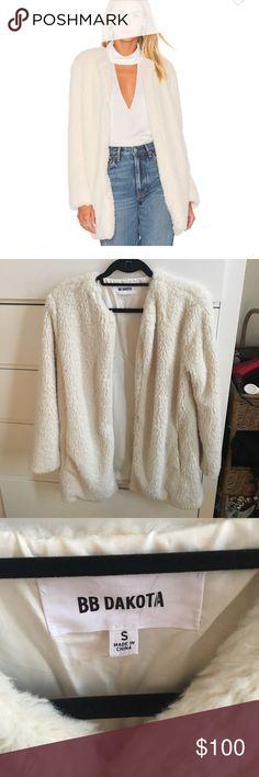 "BB Dakota Faux Fur Jacket (NWOT) Bought on revolve, ""Merrill faux fur jacket in Ivory"" BB Dakota Jackets & Coats"