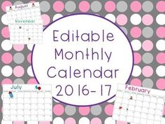 FREE Editable Monthly Calendar 2016-17