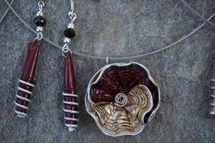 bijoux parure collier boucles d'oreilles capsule café nespresso recyclé doré, or grenat : Parure par cococreative